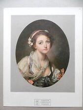 Gravure en litho GREUZE Jeune fille à l'écharpe Ed. Pierre Hautot Mode Tournus