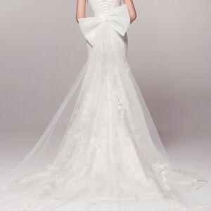White or Ivory Detachable Wedding Dress prom dress Bow Train Tail