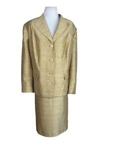 LE SUIT Women 2PC Single Breasted Gold Polyester Blend Lined Skirt Suit Size 24W