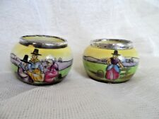 Antique Pair of Porcelain Salts with Silver Rim
