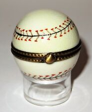 Limoges Box -Eximious- Baseball & Stand -Black & Red 'Stitching'- Summer Sports