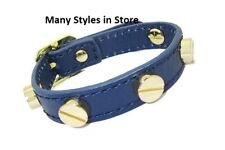 bracelet navy blue leather 18 karat gold plate screw adjustable quality fine NWT