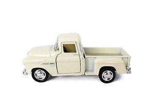 """New 5"""" Kinsmart 1955 Chevy Stepside 3100 Pick Up Truck Diecast Model 1:32 White"""