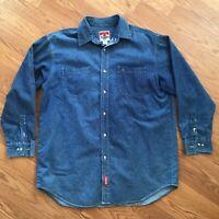 Vintage Marlboro Cowboy blue button down long sleeve collard shirt men's XL