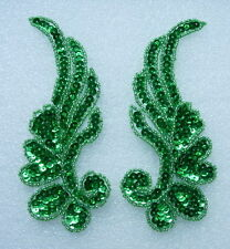 LR17-10 Mirror Pair Floral Sequin Beaded Applique Green Belly Dance/Dancewear