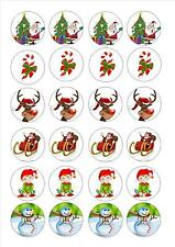 24 Edible cake toppers decorations Christmas xmas 6 mix tree reindeer santa