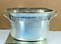 VINTAGE SILVER TONE WINE CHILLER ICE BUCKET GRAPES LEAVES THEMED BARWARE