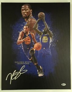 Kevin Durant Signed Autogaphed 16x20 Canvas Golden State Warriors BECKETT COA 1