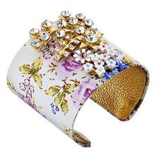 NWT BETSEY JOHNSON 'Vintage Crystal' Flower Fab Fabric Leather Cuff Bracelet $85
