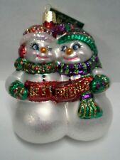 "Old World Christmas ""Best Friends"" Ornament-GLASS Snowmen Couple"