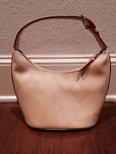 NEW Dooney & Bourke Pale Yellow Canvas & Leather Bucket Hobo Purse Handbag HP29Q