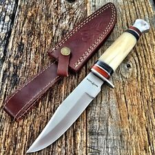 "RED DEER Hunting Camping WHITE BONE 10"" Survival Knife New w/Sheath Military"