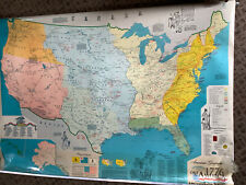 New ListingVintage American Geographic Map of 1776 America-1976 Pull Down School