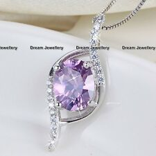 Oval Amethyst Gemstone Pendant Silver Necklace Birthday Gifts for Christmas S398