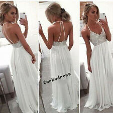 Sexy Backless Simple Chiffon Wedding Dress White Ivory Beach Bridal Gown Custom
