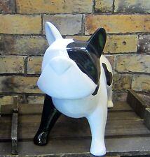 Französische Bulldogge L: 33cm schwarz weiß Figur Deko Hund Skulptur Türdeko