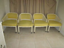 Hollywood Regency Barrel Arm Chairs With Cane Back and Upholstered Seat Set Of 4