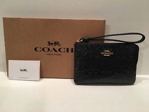 Coach Debossed Patent Leather Dark Blue Corner Zip Wristlet F58034 + COACH BOX