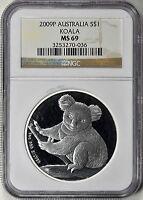 Australia 2009 Silver Koala NGC MS69 One Oz Australian Coin Bullion
