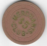 Merchants Club $5.00 Casino Chip Small Key Mold Newport Kentucky 1940-1950