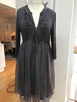 Mint Velvet Grey Layered Silk Stretch Dress Size 16-18