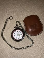 Swiss Army Pocket Watch Quartz Leather Case and Chain
