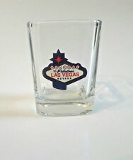 Las Vegas Welcome Sign Shot Glass Square Clear Shooter Barware Bar Nevada