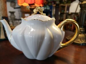 Shelley Regency Dainty White Gold Trim Teapot and Lid