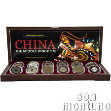 CHINA - The Middle Kingdom - Retrospective Set of 12 Coins in Wood Box with COA