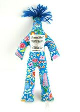 "Dammit Doll Plush 13"" Blue Floral Butterfly Flower Print Stuffed Toy Stress"