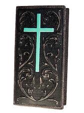 Ariat Mens Western Rodeo Wallet 11 Credit Card Embossed Brown Turquoise Cross