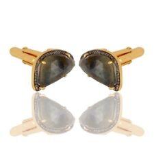 Blue Sapphire Pave Diamond Gold Plated 925 Silver Cufflinks Jewelry