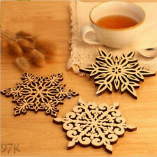 Hot Sale Wooden Carved Snowflake XMAS Mug Coasters Coffee Tea Drinks Cup Mat 97k