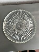 """VTG. CLEAR GLASS 5 SECTION DIVIDED RIBBED RELISH/SERVING PLATE/TRAY/PLATTER-12"""""""