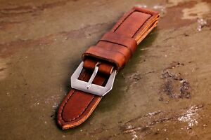 """Handmade """"Arillo"""" brown leather strap for Panerai with GPF buckle 27,26, 24,22mm"""