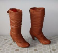 Orange Brown Leather STEVE MADDEN Pull On Wrinkle Mid Calf Boots Size 5.5 / 38.5