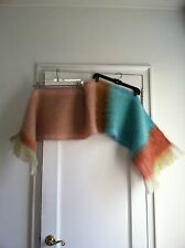 abcDNA Turquoise, Pink, Yellow, Ochre Ombre Mohair Scarf / Wrap / Throw, NWT