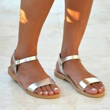 Sandals Flats Ankle Strap Womens Buckle Ladies Summer Vintage Gladiator Shoes B