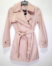 Karl Lagerfeld Paris Womens Ruffle-Trim Pink Trench Coat Size S