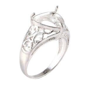 Semi Mount Ring 925 Sterling Silver Stone setting size 10X10 MM Trillion shape