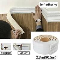Home 3D Self-adhesive Decor Wall Molding Skirting Line Mural Border Sticker Fash