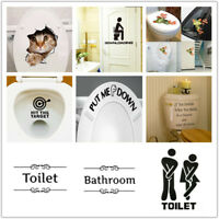 Funny Lovely Bathroom Toilet Stickers Removable Vinyl Wall Decal for Home Decor