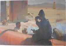 Soviet Socialist Realist Large Oil Painting,Armenian Laborers,Armenia Art 1950s