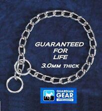 GUARDIAN GEAR MED-LG Dog Training Heavy Duty 3mm CHROME/STEEL CHOKE CHAIN COLLAR