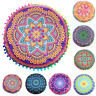 Indian Mandala Floor Pillows Round Bohemian Floral Cushion Pillows Cover Case AU