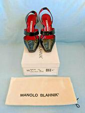 Manolo Blahnik Black Patent Leather Sling Back Heels 38.5