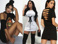 Woman Corset Long T Shirt Party Mini Dress Vintage Rock Party Holiday Casual Top