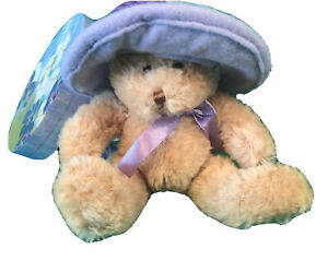 VINTAGE New TEDDY BEAR LAVENDER HAT IN FLORAL HAT BOX...sold by Avon