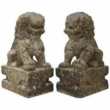 VERY RARE PAIR OF 18TH CENTURY CHINESE MARBLE TEMPLE LION GUARDIANS FOO DOGS