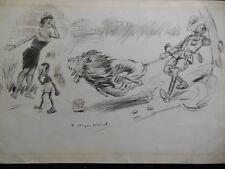 Original 1906 R Jasper Weird Punch Cartoon IIlustration - Lion in Native Village